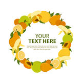 Wreath of fruit. Vector illustration with place for text Royalty Free Stock Photos