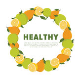 Wreath of fruit. Vector illustration with place for text Stock Photo