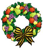 Wreath of fruits for the Holidays Stock Images