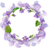 Wreath and Garden Flower background. watercolor Royalty Free Stock Photos