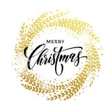 Wreath garland of leaf pattern glitter decoration Merry Christmas greeting. Wreath garland of gold leaf pattern. Golden sparkling decoration wreath garland leaf Stock Images
