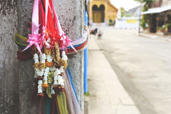 Wreath for the goddes. S. according to the belief of Thai people with soft-focus in the background. over light Stock Photo