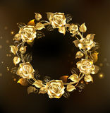 Wreath of gold roses Royalty Free Stock Photos