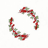 Wreath with graphic leaves and redcurrants. Used for wedding invitation, greeting cards Stock Illustration