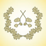 Wreath of graphic oak leaves and acorn branches. Eps 10 Royalty Free Stock Photos