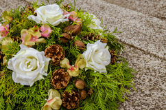 Wreath on grave Royalty Free Stock Photo