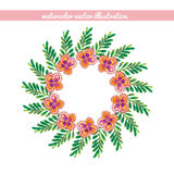 Wreath of green leaves and flowers watercolor. vector illustrati Royalty Free Stock Images