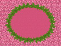 A wreath of green leaves on a pink background. A wreath of green leaves on a background of many pink roses Royalty Free Stock Photography