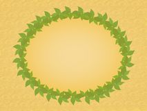 Wreath of green leaves. On a yellow background Royalty Free Stock Photos