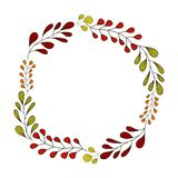 Wreath of hand drawn red,yellow,green branches stock illustration