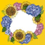 Wreath with Hand drawn sunflowers and hydrangea in round frame. Rustic floral background. Vector botanical illustration in royalty free illustration