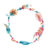 Wreath of hand drawn watercolor feather and bead Stock Image