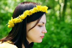 Wreath on a head of the girl Stock Photography