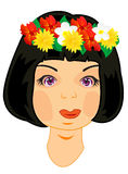 Wreath on head of the girl. Making look younger beautiful girl with vein from flower on head Stock Images
