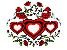 Wreath of hearts and roses Stock Photos