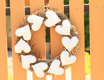 Wreath with hearts Stock Image