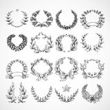 Wreath Heraldic Icons Set Stock Images