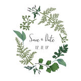 Wreath with herbs and leaves stock illustration