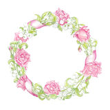 Wreath with herbs, roses and wild flowers isolated on white. Round frame for your design, greeting cards, wedding announcements, Stock Image