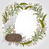 Wreath with heron bird, nest and swamp plants. Marsh flora and fauna. Elements Vintage hand drawn vector illustration in watercolor style Stock Photos