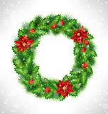 Wreath with holly, pine and poinsettia on grayscale. Christmas wreath with holly sprigs, pine branches and flowers of poinsettia in snowfall on grayscale Stock Images