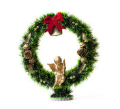 Wreath and holly on white back ground. Celebratory wreath. Christmas wreath. Pinecones stock image