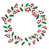 Wreath of holly on white background Christmas greeting card Stock Photography