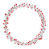 Wreath isolated on white. Berries, vector illustration Stock Image