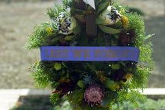 Wreath laid at ANZAC service 2018, Hawker, SA, Australia stock photography