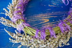 Wreath of lavender on a blue wooden board Stock Image