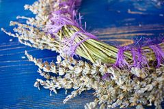 Wreath of lavender on a blue wooden board Royalty Free Stock Photography