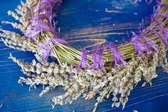 Wreath of lavender on a blue wooden board Stock Photography