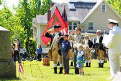 Wreath laying ceremonies hold in Lexington Massachusetts at Memorial Day on July 27, 2019. In Old Burying Ground stock photography