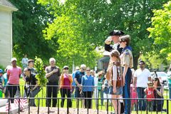 Wreath laying ceremonies hold in Lexington Massachusetts at Memorial Day on May 22, 2019. Laying Wreath stock photos