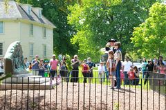 Wreath laying ceremonies hold in Lexington Massachusetts at Memorial Day on May 22, 2019. Laying Wreath stock images