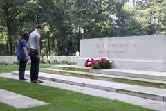 Wreath laying ceremony at the monument at the Airborne Cemetery Stock Image