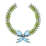 Wreath leafs with bow decorative Stock Photo