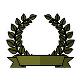 Wreath leafs crown emblem Royalty Free Stock Image