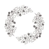 Wreath with leaves and berries of raspberries. Used for wedding invitation, greeting cards Stock Photography