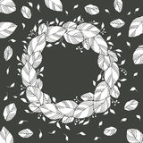 Wreath of leaves black and white Royalty Free Stock Photos