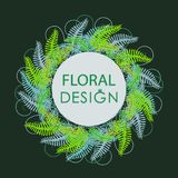 Wreath from the leaves of the forest fern. Dark green background. Flower green greeting card. For romantic design, announcements, greeting cards, posters Stock Image
