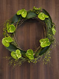 Wreath leaves green wall brown Stock Photography
