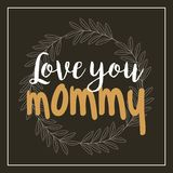Wreath leaves love you mommy card black background Stock Images