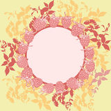 Wreath with leaves. Round banner for text. raspberry on orange background. Sketch, hand-drawn. Vector Royalty Free Stock Image