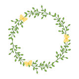 The wreath of leaves and twigs. A wreath of green leaves.  Spring frame for the photo.  Vector illustration Stock Photography