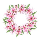 Wreath of lily flowers. Floral background. Lilies. Green leaves. Border. Flower pattern. Isolated on white background. Flowers. Wreath of lily flowers. Floral stock illustration