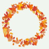 Wreath made of autumn flowers and leaves on light background. Autumn composition. EPS 10 stock illustration