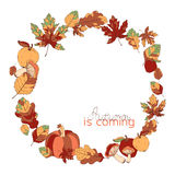 Wreath made of autumn leaves, mushrooms, apples. And pumpkin. Can be used for wedding and greeting cards, seasonal template design. Based on hand drawn elements Stock Photography