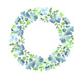 Wreath made of gentle blue flowers and green leaves. Brier twig on white background. Round shape. Watercolor painting. Hand drawn Stock Images