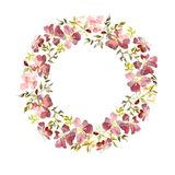 Wreath made of gentle red flowers and green and yellow leaves. Brier twig on white background. Round shape. Watercolor painting. Hand drawn Stock Photography